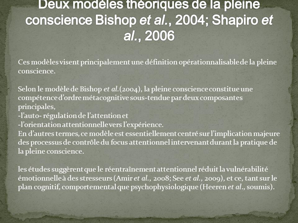 Deux modèles théoriques de la pleine conscience Bishop et al