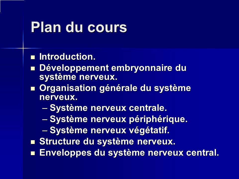 Plan du cours Introduction.