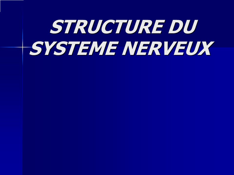 STRUCTURE DU SYSTEME NERVEUX