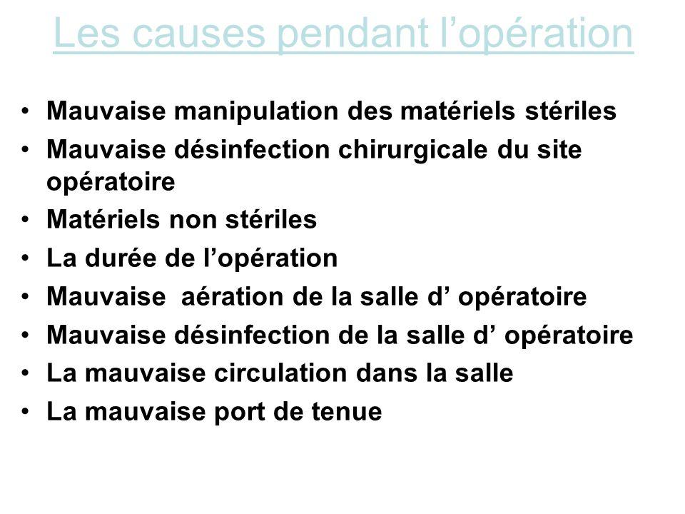 Les causes pendant l'opération