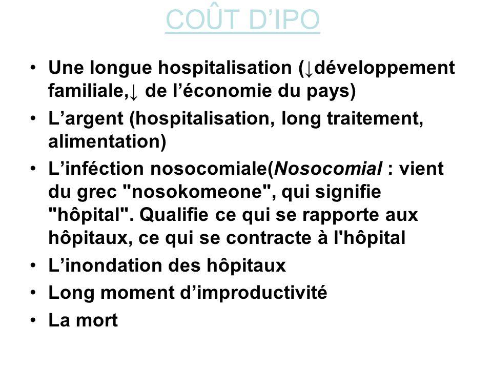 COÛT D'IPO Une longue hospitalisation (↓développement familiale,↓ de l'économie du pays) L'argent (hospitalisation, long traitement, alimentation)