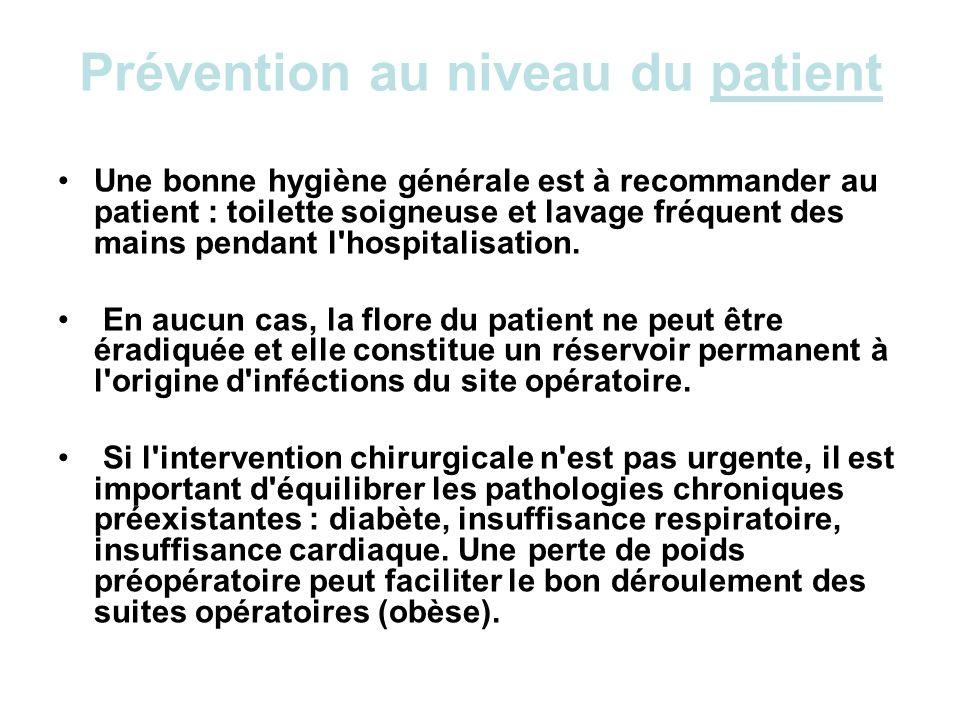 Prévention au niveau du patient