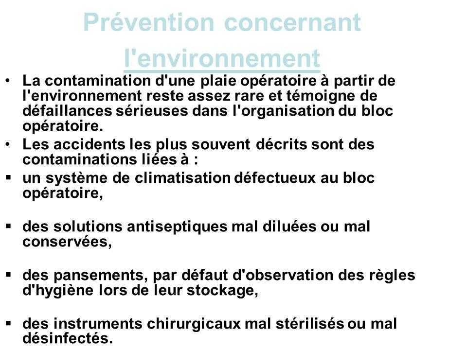 Prévention concernant l environnement