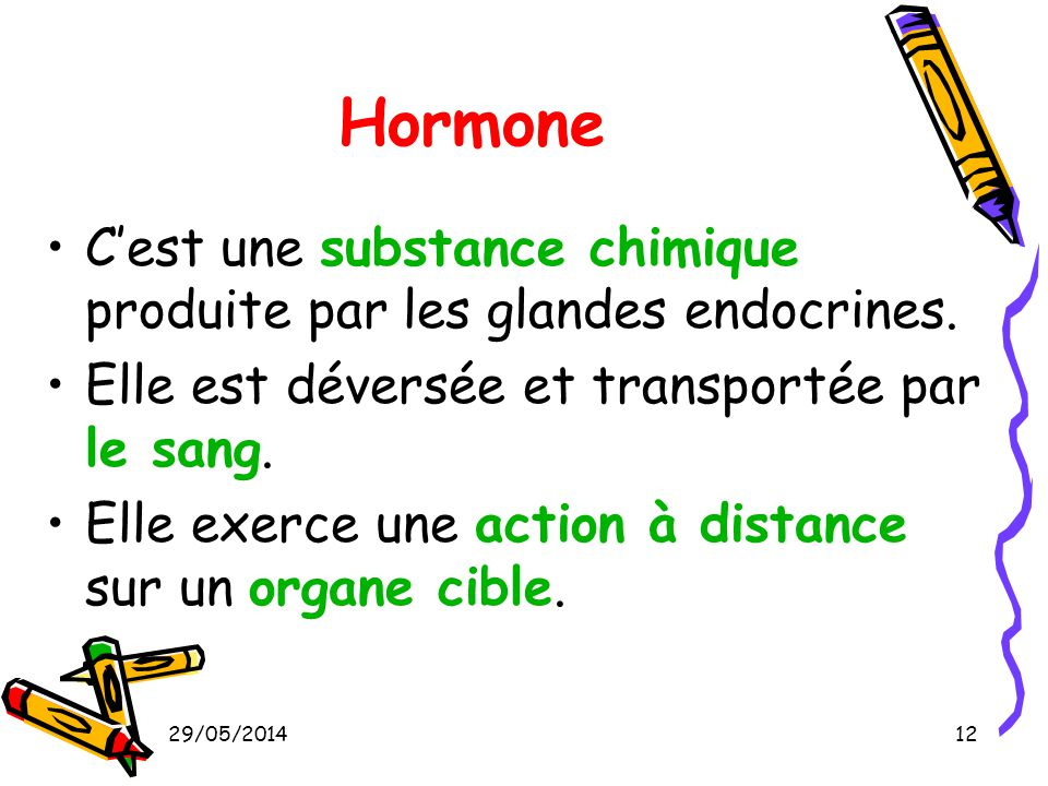 Hormone C'est une substance chimique produite par les glandes endocrines. Elle est déversée et transportée par le sang.
