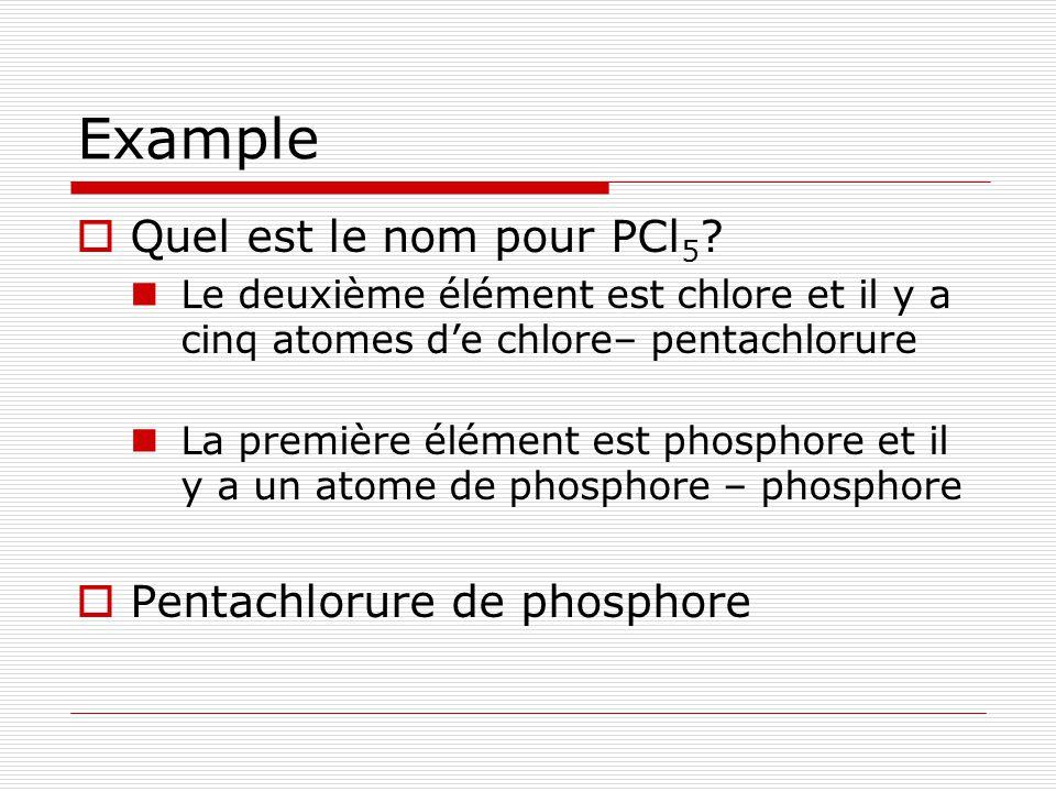 Example Quel est le nom pour PCl5 Pentachlorure de phosphore