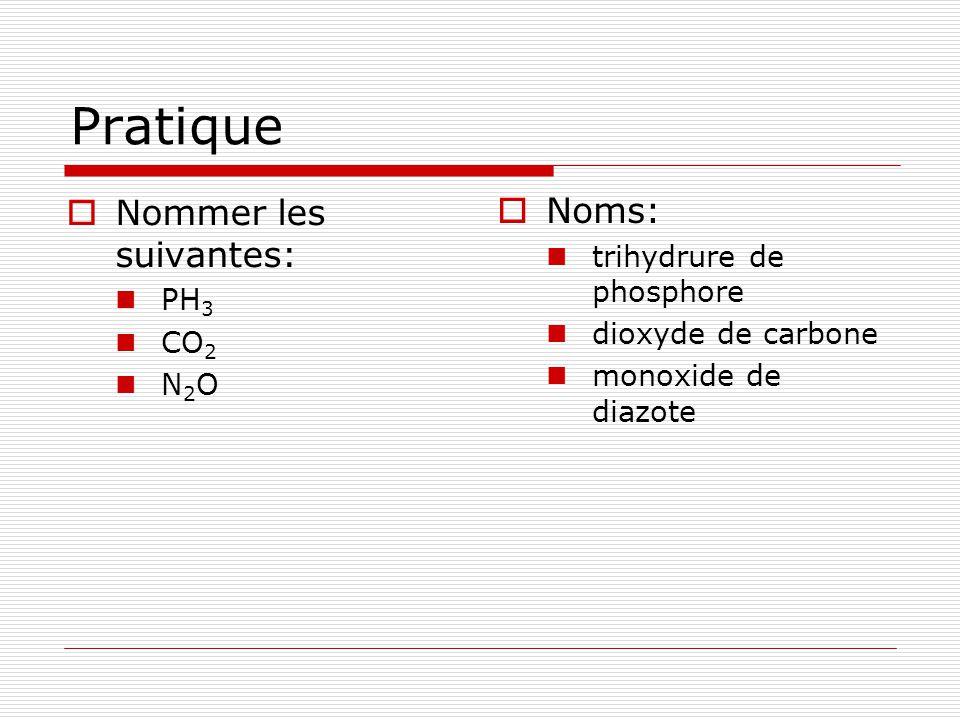 Pratique Nommer les suivantes: Noms: trihydrure de phosphore PH3
