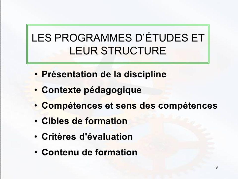LES PROGRAMMES D'ÉTUDES ET LEUR STRUCTURE