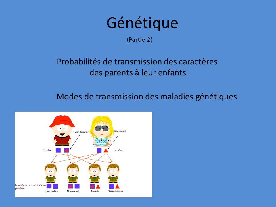 Génétique Probabilités de transmission des caractères