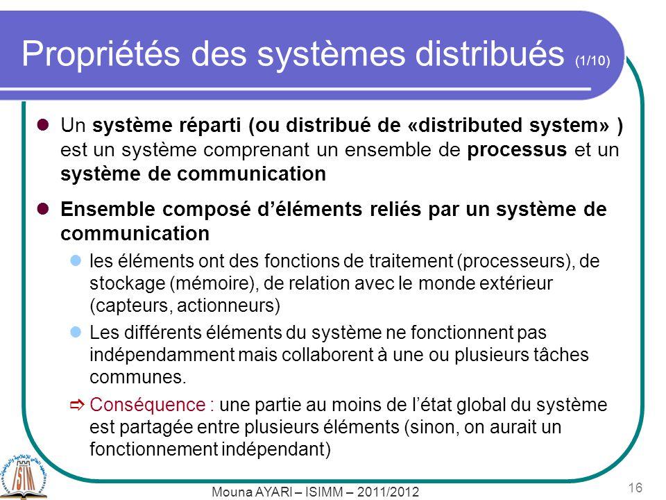 Propriétés des systèmes distribués (1/10)