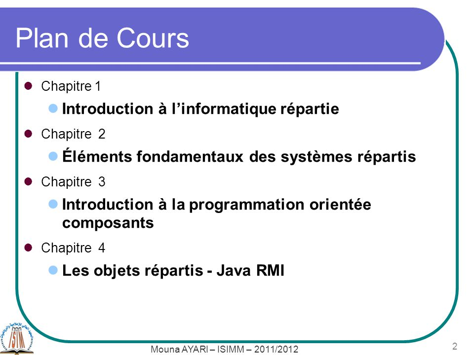 Plan de Cours Introduction à l'informatique répartie
