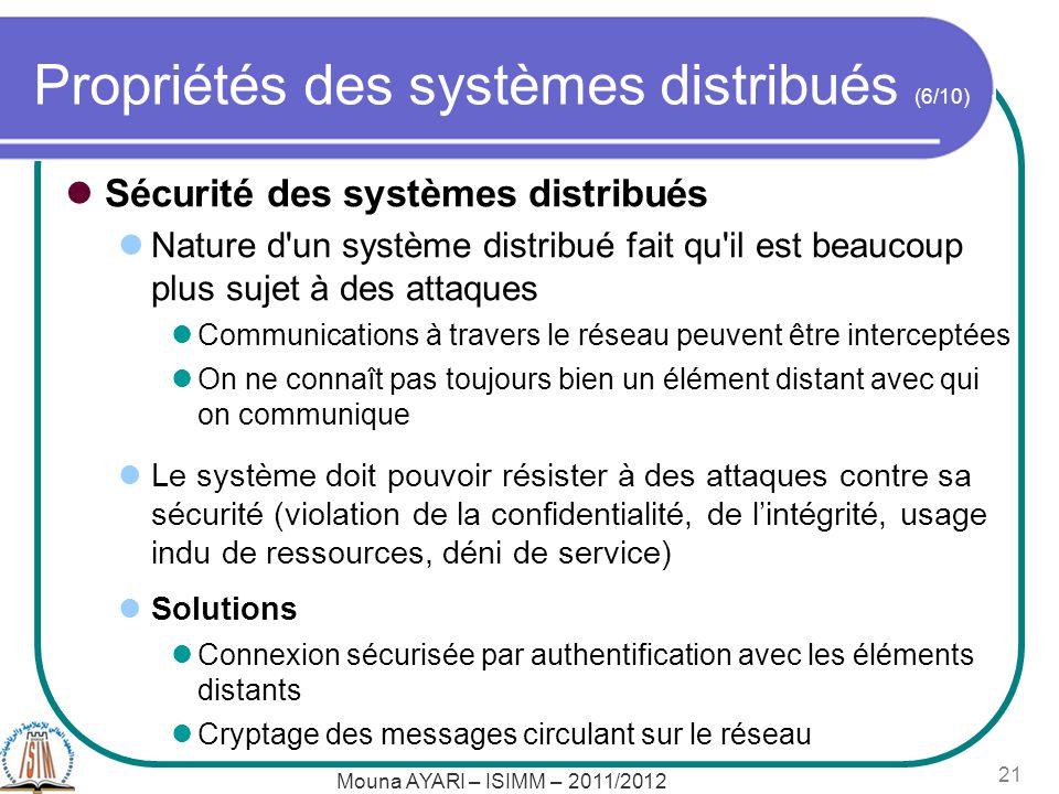 Propriétés des systèmes distribués (6/10)