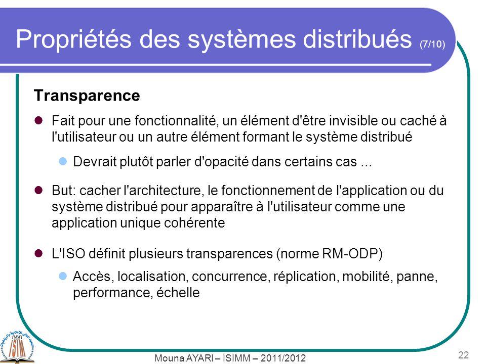 Propriétés des systèmes distribués (7/10)