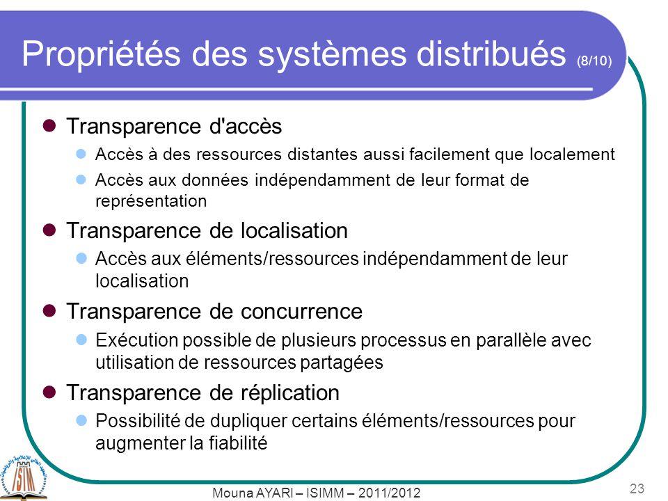 Propriétés des systèmes distribués (8/10)
