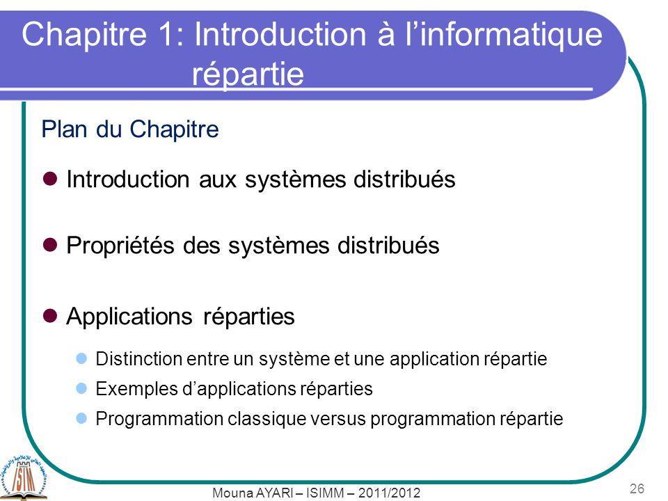 Chapitre 1: Introduction à l'informatique répartie