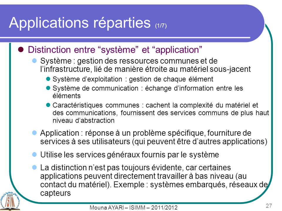 Applications réparties (1/7)