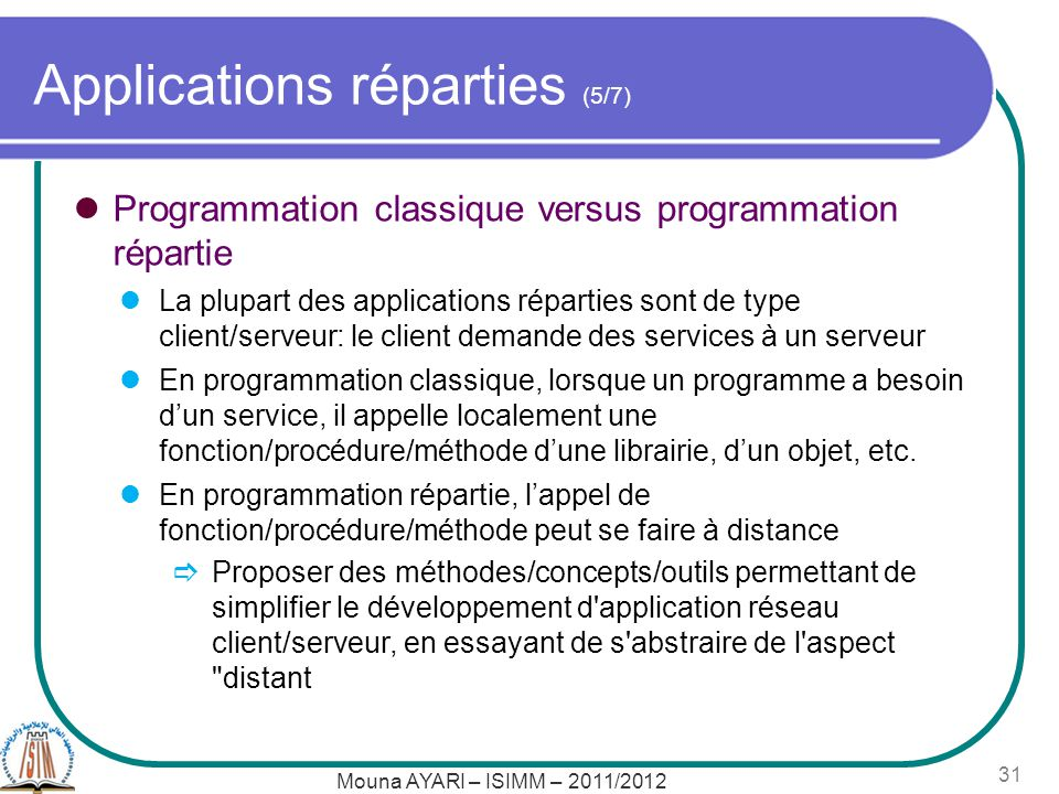 Applications réparties (5/7)