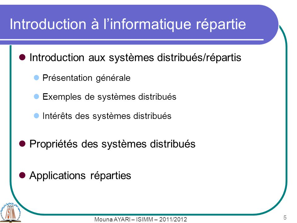 Introduction à l'informatique répartie