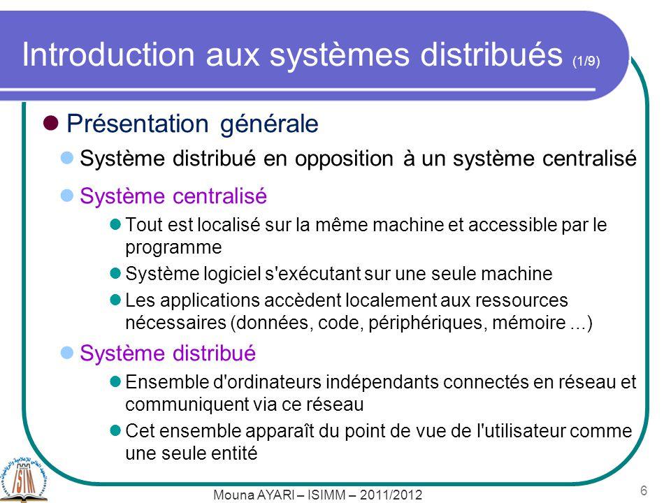 Introduction aux systèmes distribués (1/9)