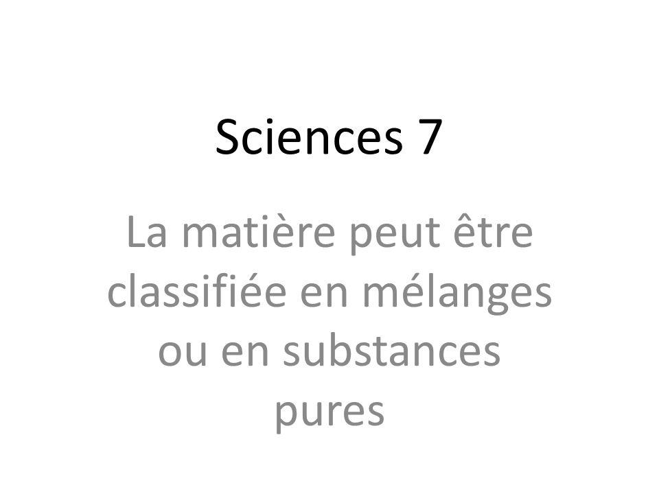 La matière peut être classifiée en mélanges ou en substances pures