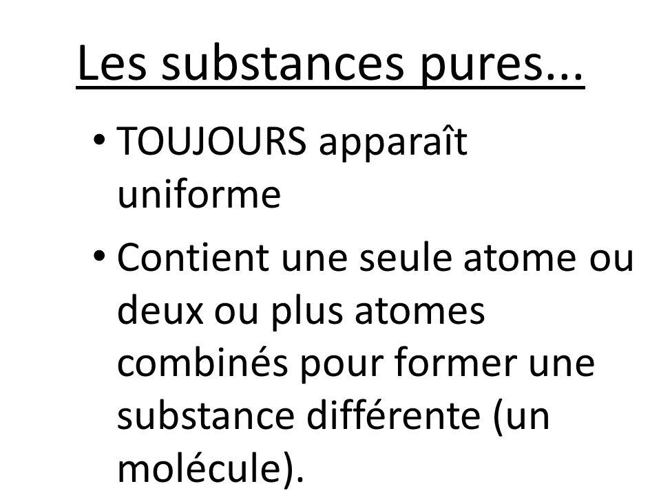 Les substances pures... TOUJOURS apparaît uniforme