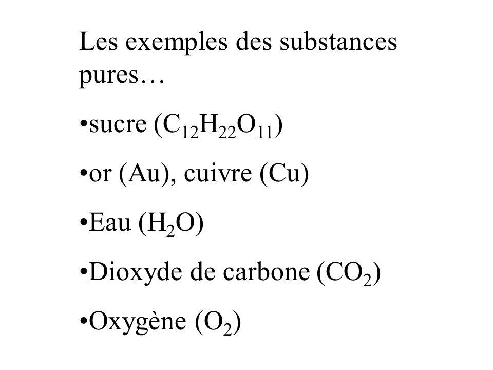 Les exemples des substances pures…