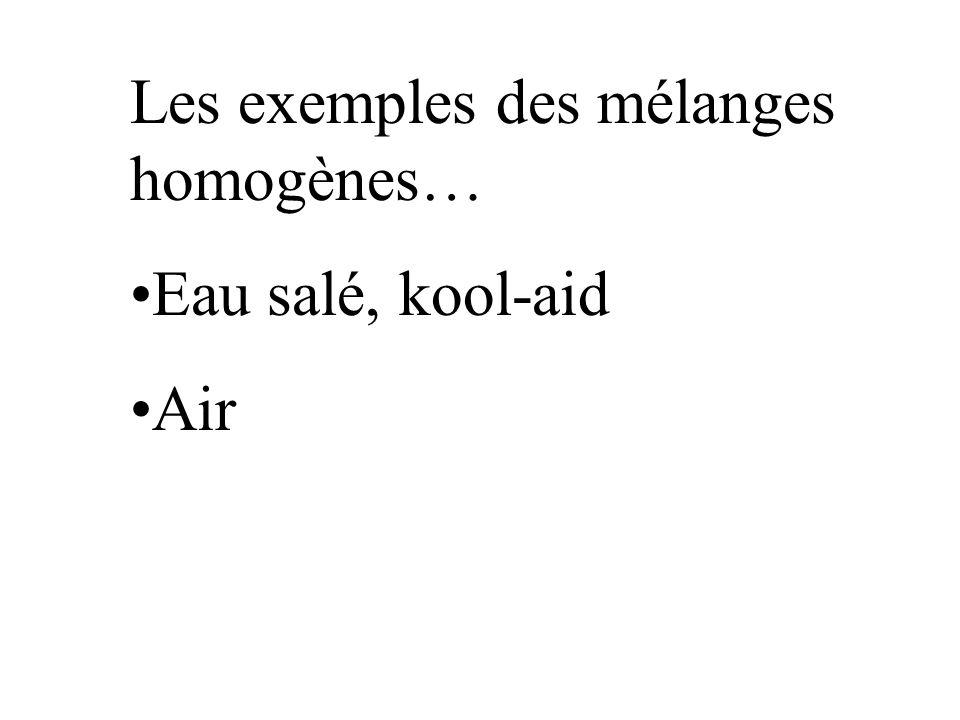 Les exemples des mélanges homogènes…