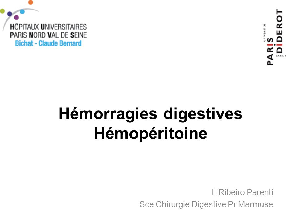 Hémorragies digestives Hémopéritoine