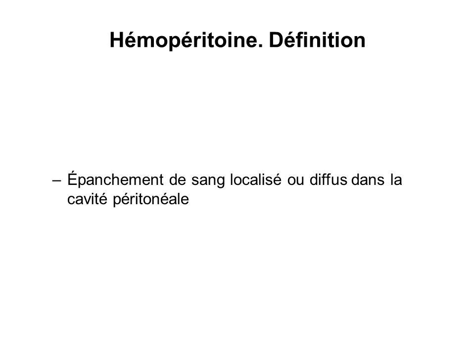 Hémopéritoine. Définition