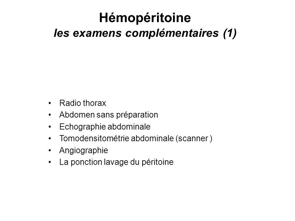 Hémopéritoine les examens complémentaires (1)