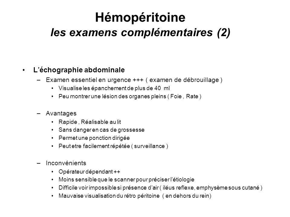 Hémopéritoine les examens complémentaires (2)