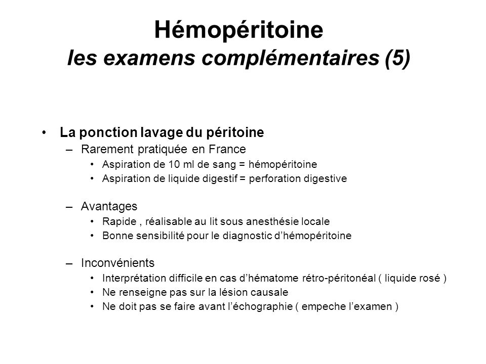 Hémopéritoine les examens complémentaires (5)