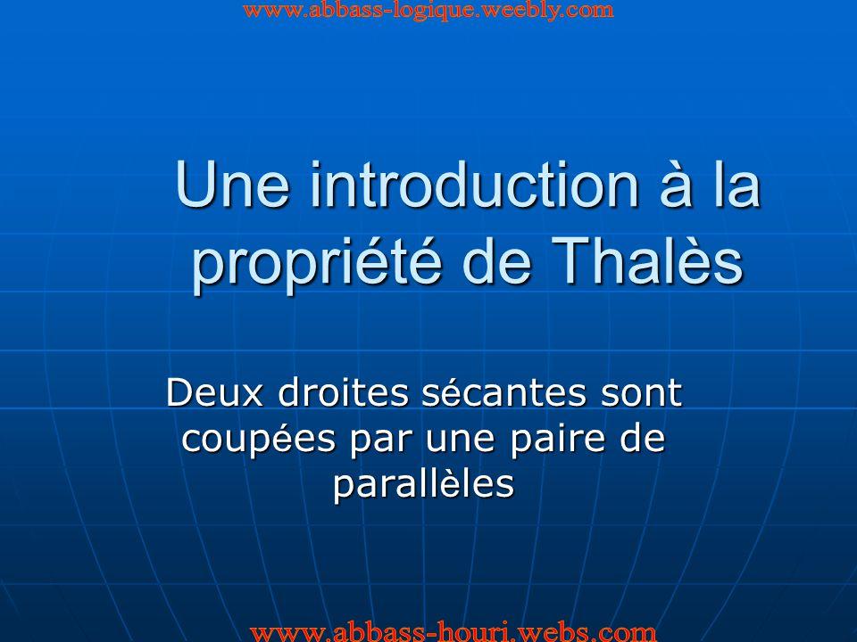 Une introduction à la propriété de Thalès