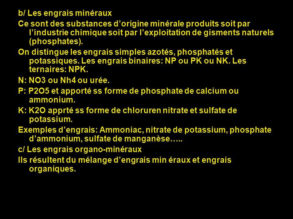 b/ Les engrais minéraux
