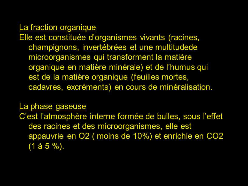 La fraction organique