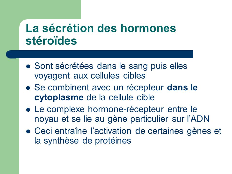 La sécrétion des hormones stéroïdes