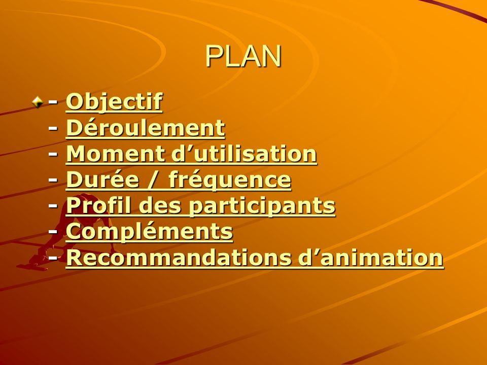 PLAN - Objectif - Déroulement - Moment d'utilisation - Durée / fréquence - Profil des participants - Compléments - Recommandations d'animation.