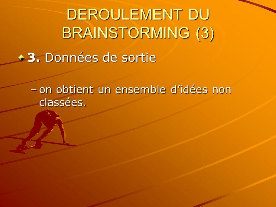 DEROULEMENT DU BRAINSTORMING (3)