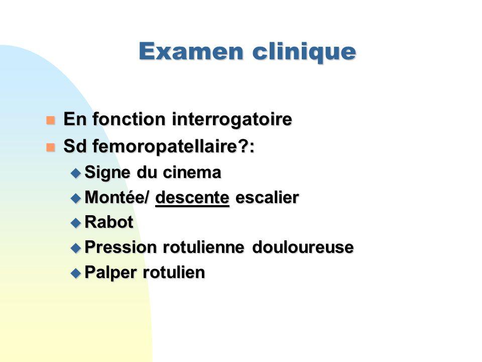 Examen clinique En fonction interrogatoire Sd femoropatellaire :