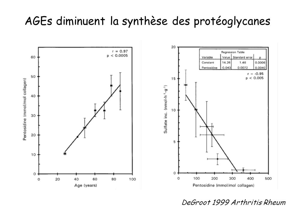 AGEs diminuent la synthèse des protéoglycanes