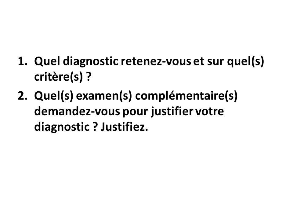 Quel diagnostic retenez-vous et sur quel(s) critère(s)