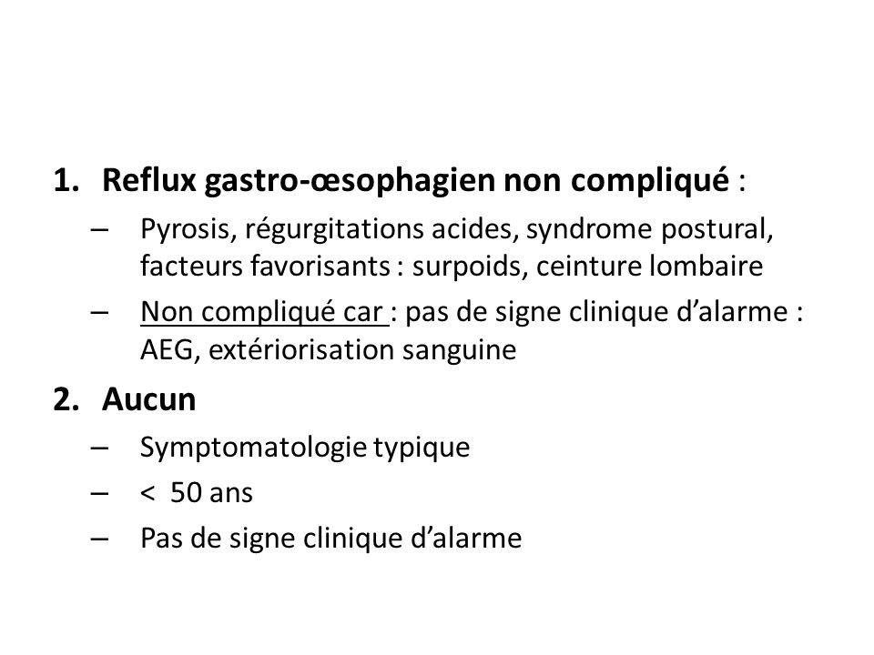 Reflux gastro-œsophagien non compliqué :