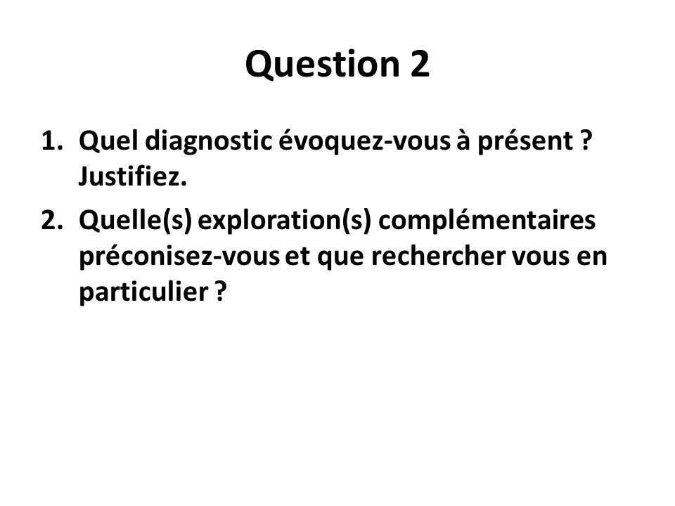 Question 2 Quel diagnostic évoquez-vous à présent Justifiez.