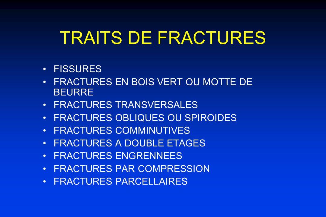 TRAITS DE FRACTURES FISSURES FRACTURES EN BOIS VERT OU MOTTE DE BEURRE