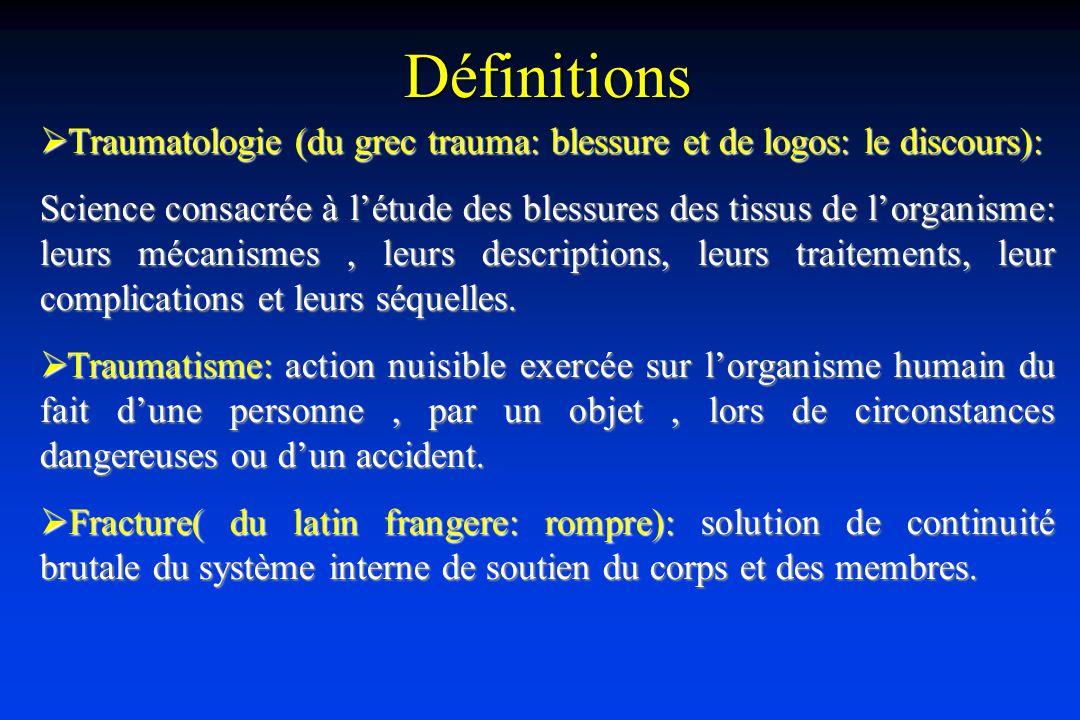 Définitions Traumatologie (du grec trauma: blessure et de logos: le discours):