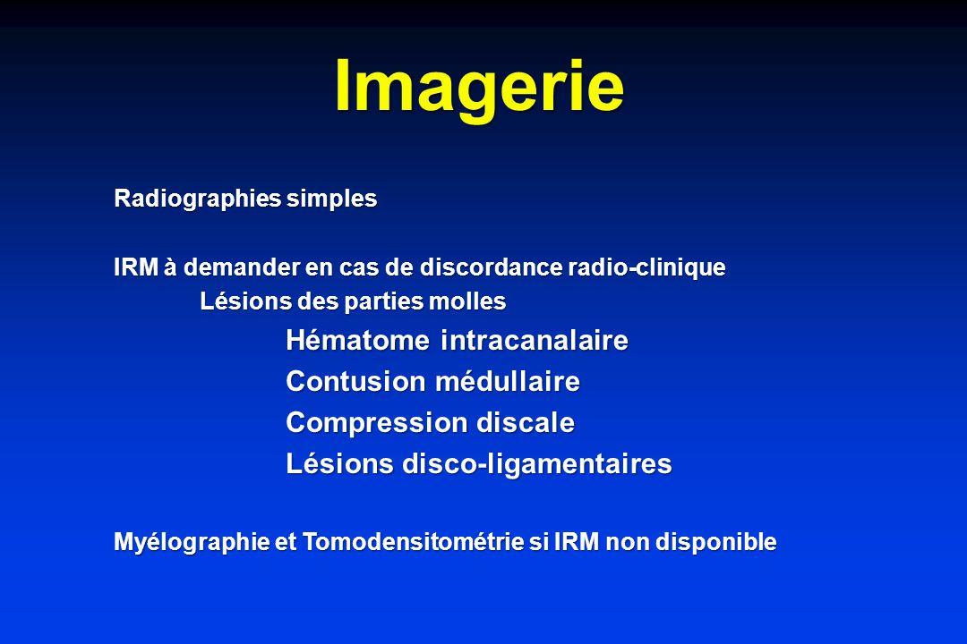 Imagerie Contusion médullaire Compression discale