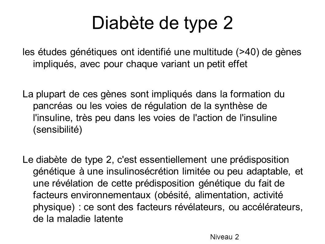 Diabète de type 2 les études génétiques ont identifié une multitude (>40) de gènes impliqués, avec pour chaque variant un petit effet.
