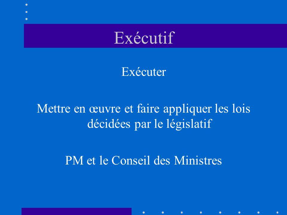 Exécutif Exécuter. Mettre en œuvre et faire appliquer les lois décidées par le législatif.