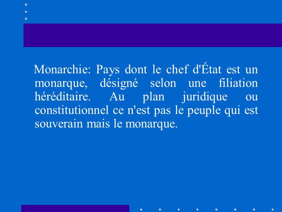 Monarchie: Pays dont le chef d État est un monarque, désigné selon une filiation héréditaire.