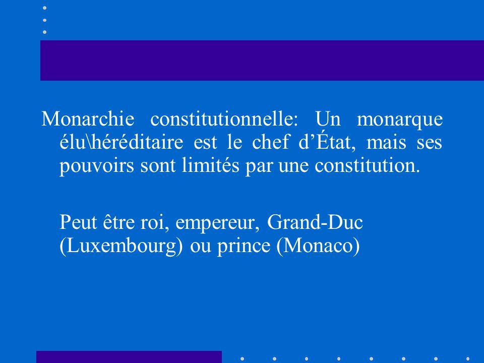Monarchie constitutionnelle: Un monarque élu\héréditaire est le chef d'État, mais ses pouvoirs sont limités par une constitution.