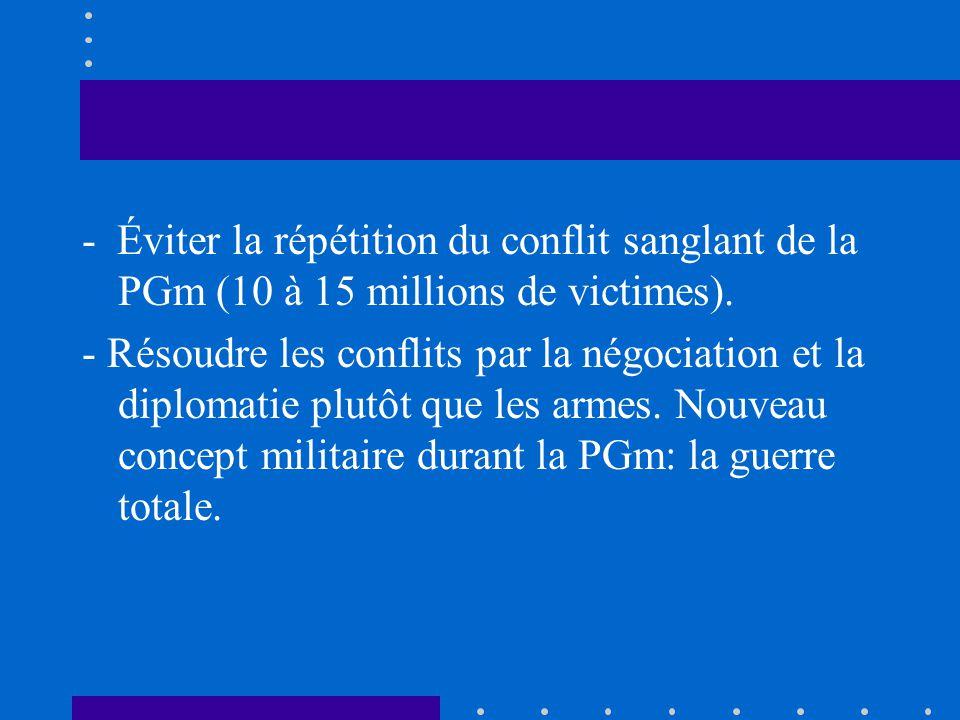 - Éviter la répétition du conflit sanglant de la PGm (10 à 15 millions de victimes).